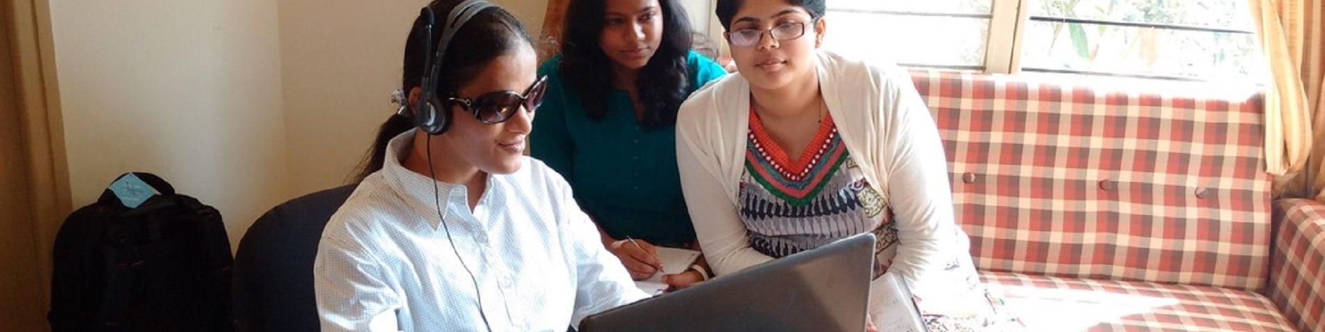 binni-kumar-with-research-associates-ilene-and-kamala-at-mitra-jyothi-bangalore
